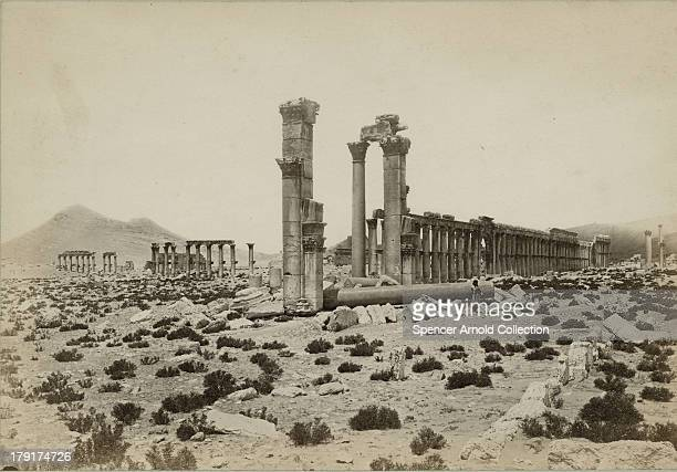 The ruins of the ancient city of Palmyra in Syria circa 1880 A view from near the Triumphal Arch