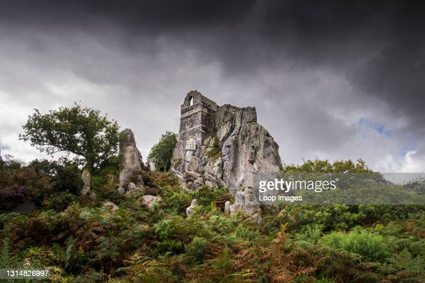 The ruins of the atmospheric 15th century Roche Rock Hermitage in Cornwall.