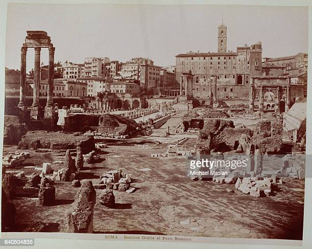 The ruins of the Basilica Julia a public building in Rome 1880s1890s