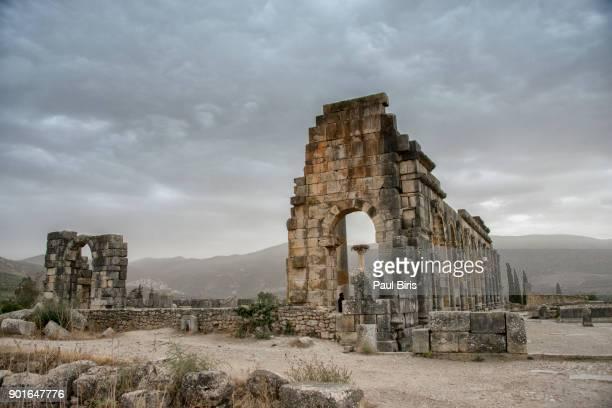 the ruins of the basilica, roman archeological site in volubilis, morocco - volubilis fotografías e imágenes de stock