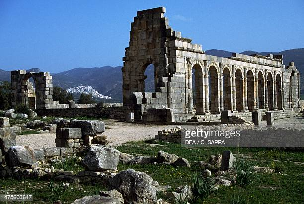 The ruins of the basilica Roman city of Volubilis Morocco Roman civilisation