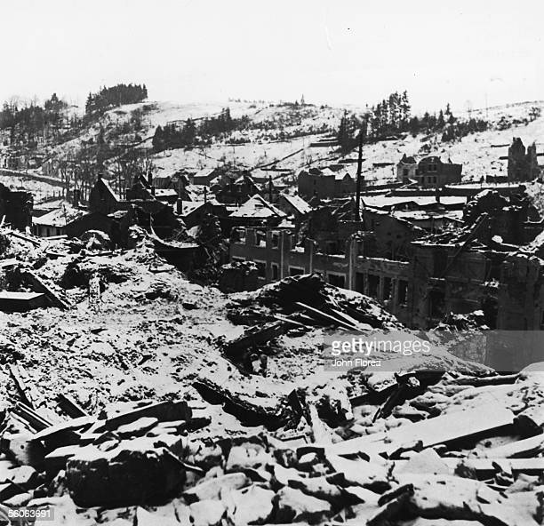 The ruins of the Belgian town of Houffalize, following a period of intense bombardment during World War II, January 1945.