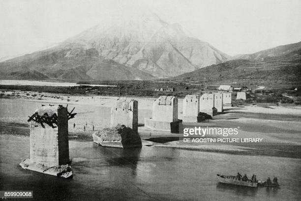 The ruins of the bridge over the River Voiussa in Telepeni Albania World War I from l'Illustrazione Italiana Year XLV No 31 August 4 1918