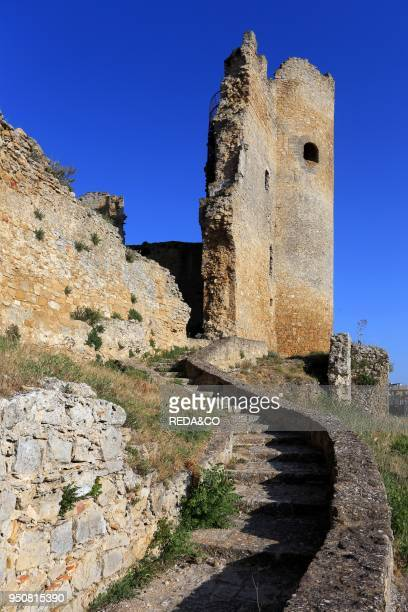The ruins of the castle of Mazzarino U Cannuni Caltanisetta province Sicily Italy Europe