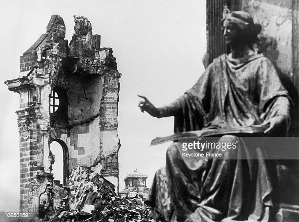 The Ruins Of The Church NotreDame In Dresden Gdr After AngloAmerican Bombings In February Of 1945