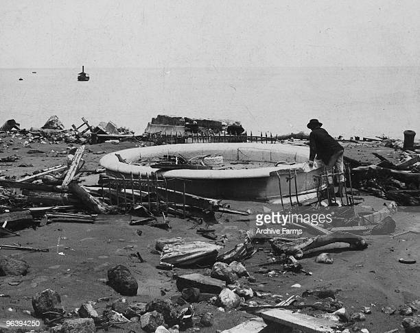 The ruins of the city fountain and the base of the lighthouse after the eruption of the Mount Pelee volcano on May 10 1902 at St Pierre Martinique