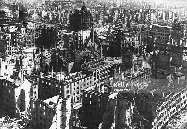 The ruins of the city of Dresden after heavy Allied bombing during World War II 1945