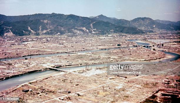 The ruins of the city of Hiroshima after the dropping of the atom bomb in August 1945 US Army Air Forces photograph