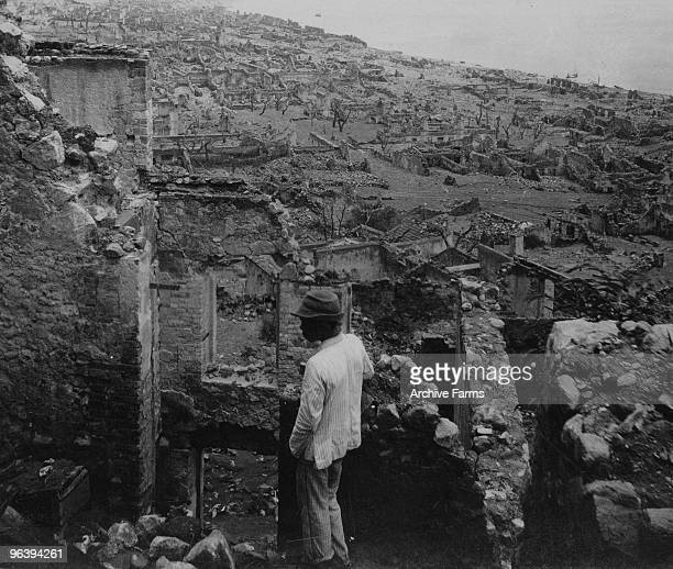 The ruins of the city of St Pierre after the eruption of the Mount Pelee volcano on May 10 1902 at St Pierre Martinique