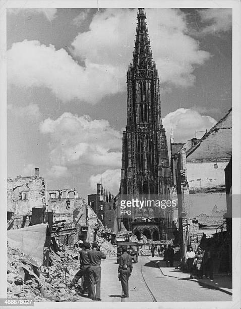 The ruins of the city of Ulm with the mostly intact Cathedral following World War Two allied bombing raids Germany 1946