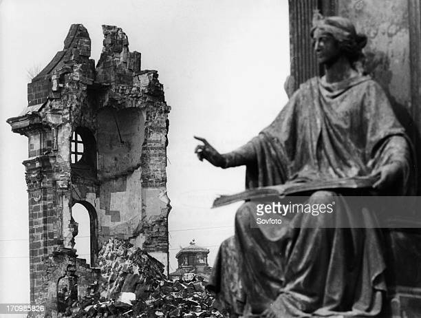 The ruins of the frauenkirche in dresden germany after the relentless bombing in 1945 during world war 2