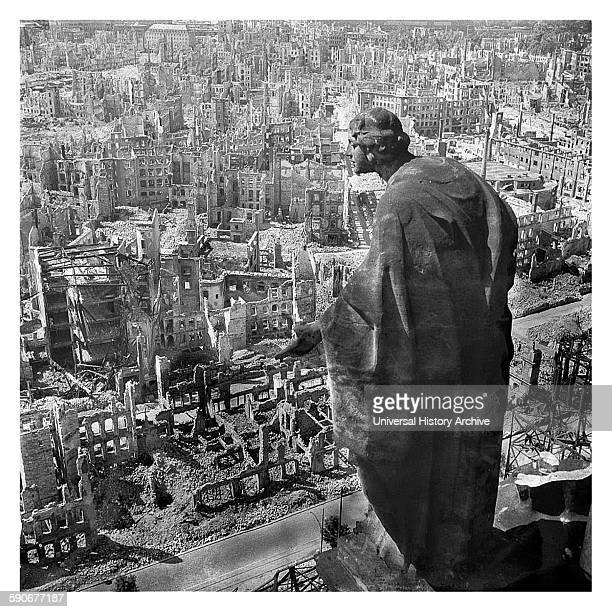 The ruins of the German city of Dresden after allied air raids in World War two 1944
