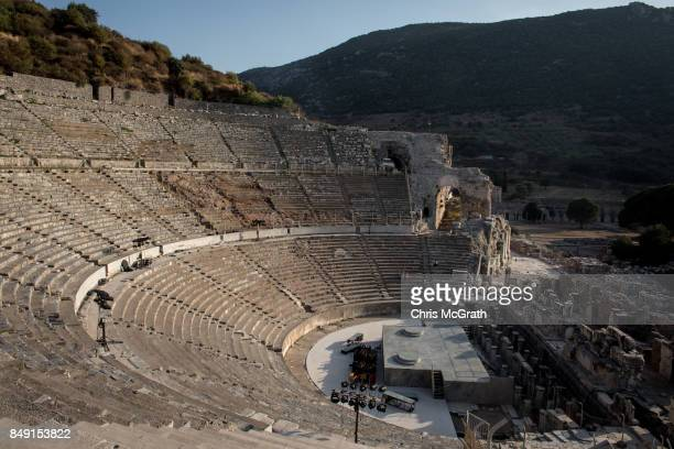 The ruins of the Great Theatre are seen in the ancient city of Ephesus on September 18 2017 in Izmir Turkey The ancient city of Ephesus continues to...