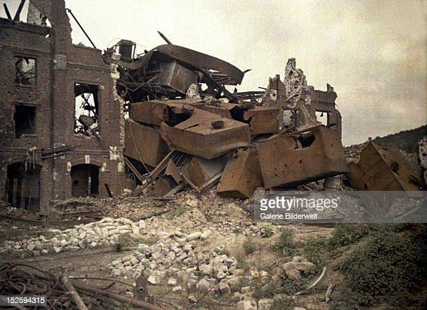 The ruins of the heavily damaged distillery Vauxrot 1917 Color photo by Fernand Cuville World War I Western Front Cuffies Aisne France