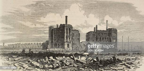 The ruins of the LaSalle Street Station after the Great Chicago Fire United States of America engraving from The Illustrated London News No 1679...