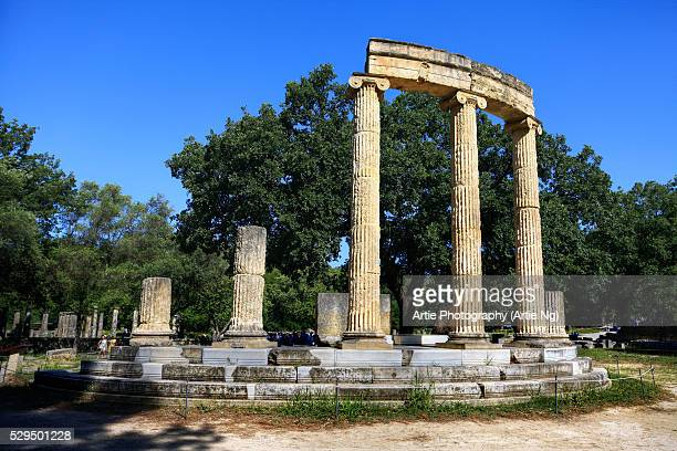 the ruins of the philippeion at olympia, greece - old ruin stock pictures, royalty-free photos & images