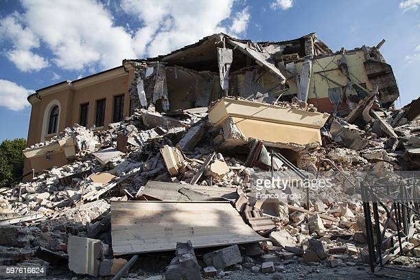 The ruins of the school of Amatrice are seen after the earthquake hit the town on August 28 2016 in Rieti Italy At least 290 people are now known to...