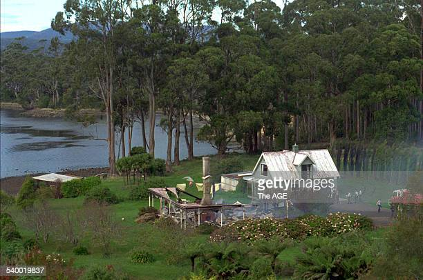 The ruins of the Seascape Guesthouse where gunman Martin Bryant retreated after shooting and killing 35 people during the Port Arthur massacre before...