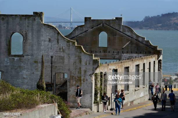 SAN FRANCISCO CALIFORNIA SEPTEMBER 12 2018 The ruins of the Social Hall also known as the Officers' Club at the former Alcatraz Federal Penitentiary...