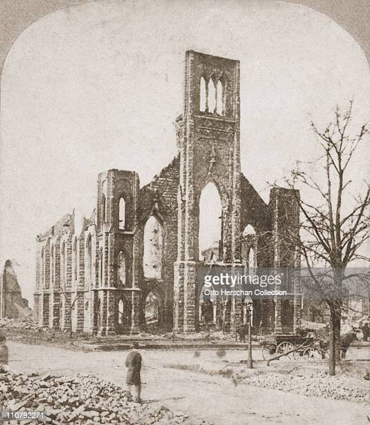 The ruins of the Unity Church in Chicago after the Great Chicago Fire 1871
