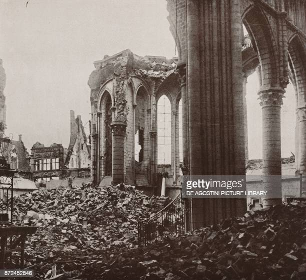 The ruins of the Ypres cathedral Flanders Belgium World War I from l'Illustrazione Italiana Year XLV No 2 January 13 1918