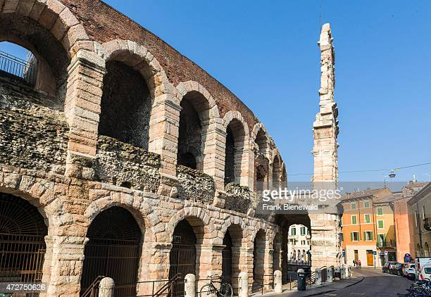 The ruins of Verona Arena are dominating the Piazza Bra