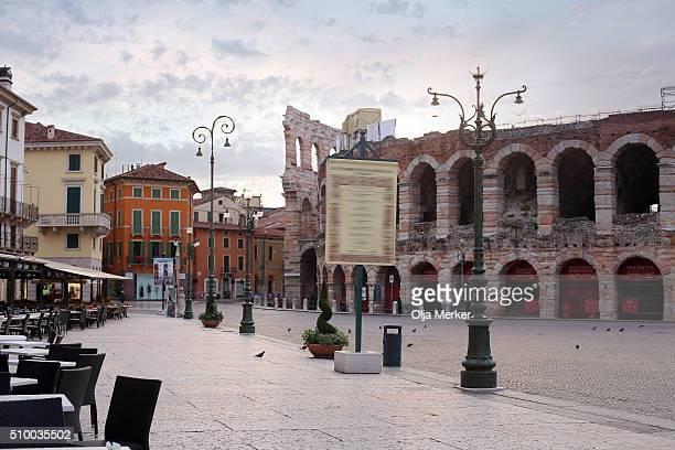 The ruins of Verona Arena on the Piazza Bra, Verona, Italy