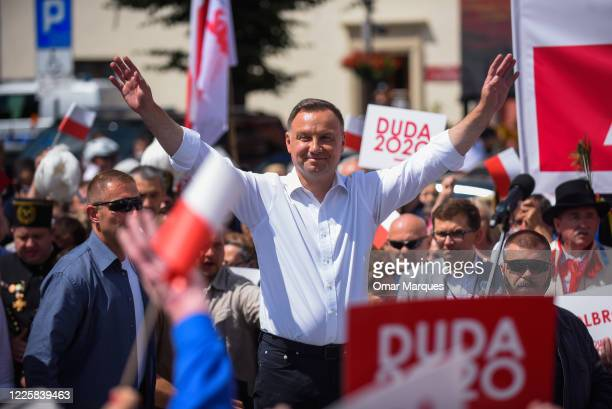 The ruling President of Poland backed by the right wing conservative Law and Justice party, Andrzej Duda delivers a speech for locals and supporters...