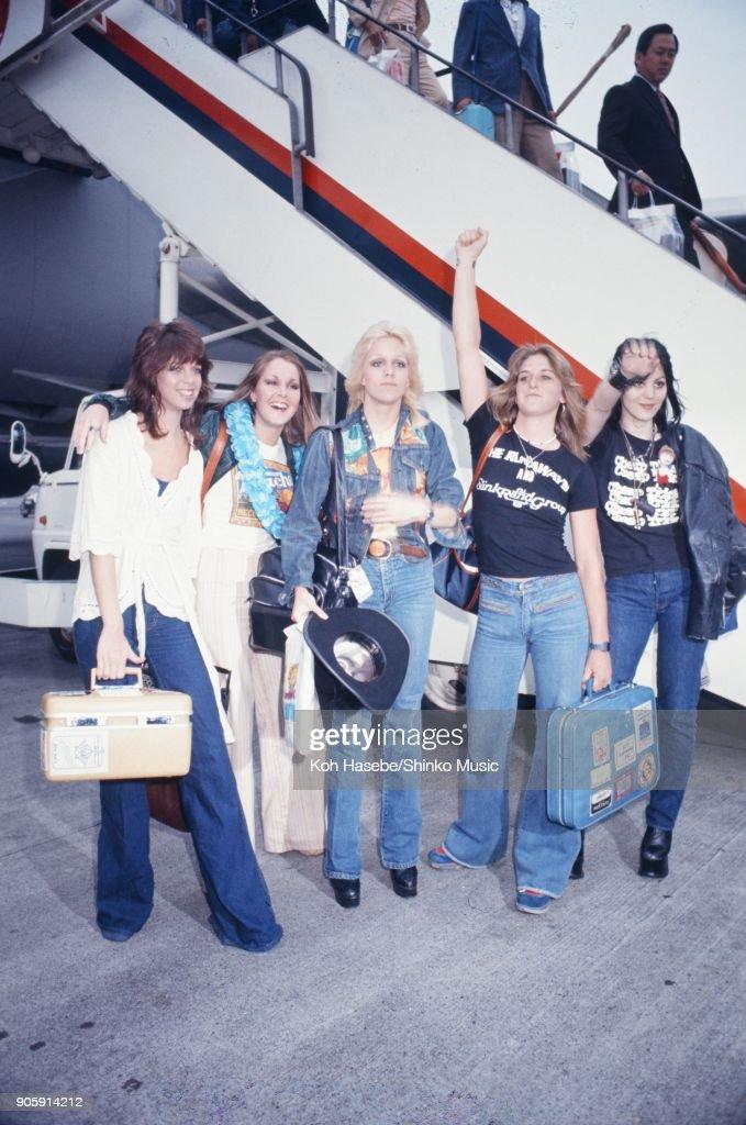 The Runaways at Haneda Airport, June 1977, Tokyo, Japan. Cherie Currie, Joan Jett, Lita Ford, Jackie Fox, Sandy West.