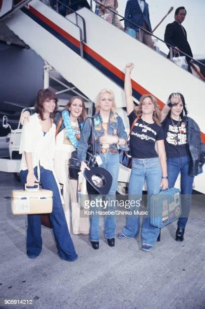 The Runaways at Haneda Airport June 1977 Tokyo Japan Cherie Currie Joan Jett Lita Ford Jackie Fox Sandy West