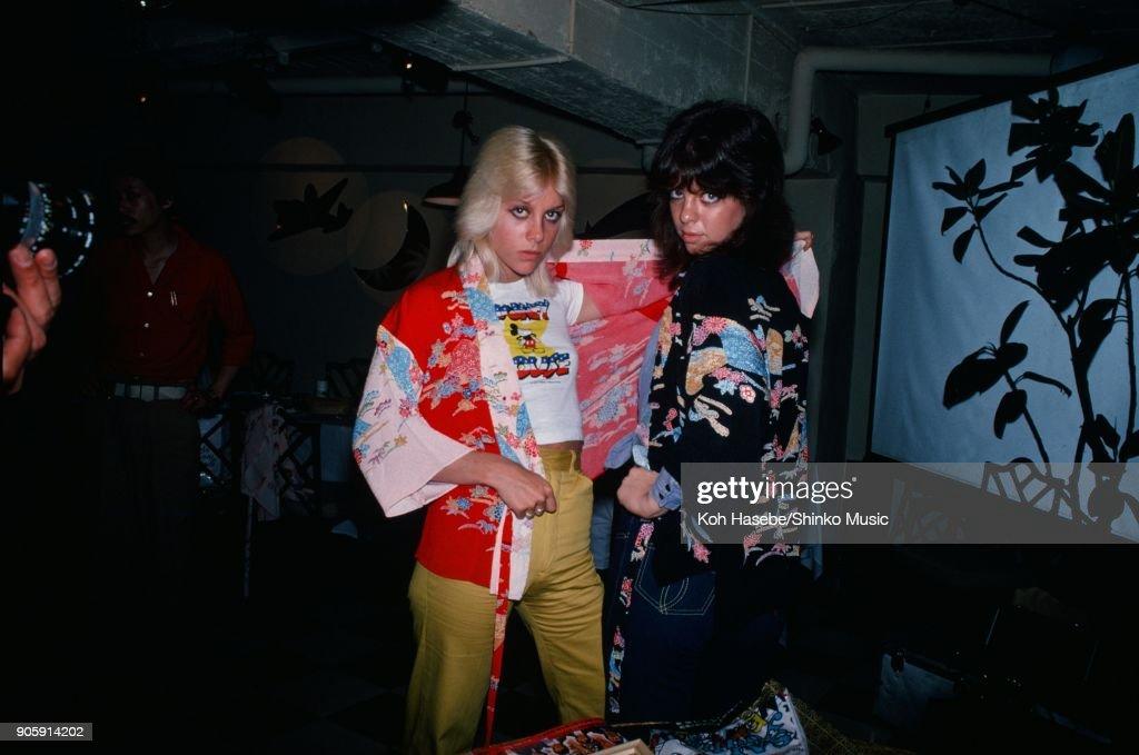 The Runaways on Takesita street Harajyuku, June 1977, Tokyo, Japan. Cherie Currie, Jackie Fox.