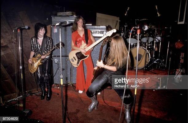 The Runaways perform live at CBGB's club in New York on August 02 1976 LR Joan Jett Jackie Fox Lita Ford Sandy West