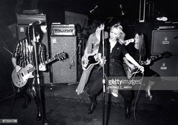 The Runaways perform live at CBGB's club in New York on August 02 1976 LR Joan Jett Jackie Fox Cherie Currie Lita Ford