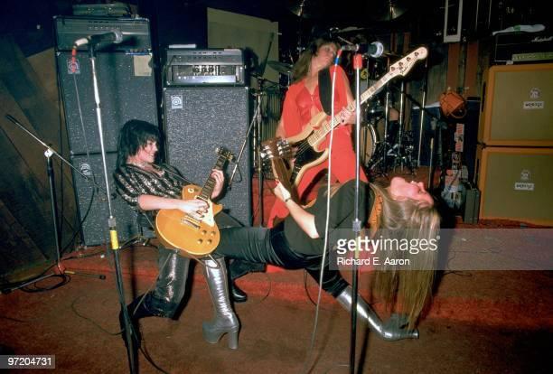 The Runaways perform live at CBGB's club in New York on August 02 1976 LR Joan Jett Jackie Fox Lita Ford