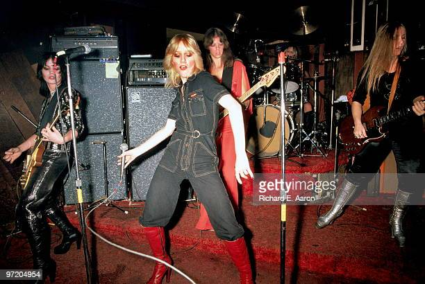 The Runaways perform live at CBGB's club in New York on August 02 1976 LR Joan Jett Cherie Currie Jackie Fox Sandy West Lita Ford