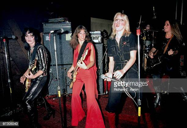 The Runaways perform live at CBGB's club in New York on August 02 1976 LR Joan Jett Jackie Fox Cherie Currie Sandy West Lita Ford