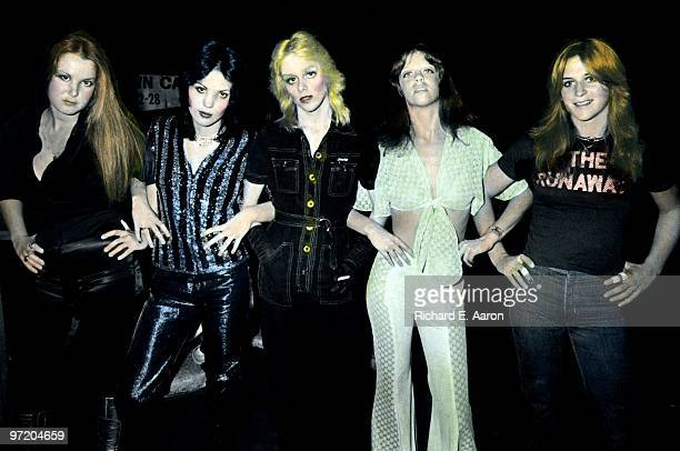 The Runaways posed at CBGB's club in New York in August 1976 LR Lita Ford Joan Jett Cherie Currie Jackie Fox Sandy West