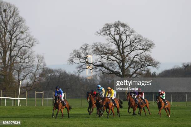 The runners and riders during the NFRC Southwest Open Hunters' Steeple Chase against the backdrop of the Severn Bridge at Chepstow Racecourse on...