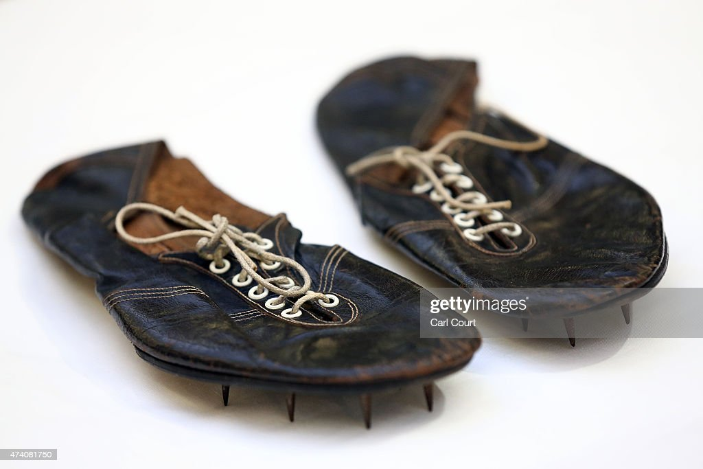 The running shoes worn by Sir Roger Bannister when he became the first man in history to run one mile in under 4 minutes are pictured at Christie's on May 20, 2015 in London, England. Forming part of the Out of the Ordinary auction on 10th September, they are expected to fetch between 30-50,000GBP (47-78,000USD - 42-70,000EUR).