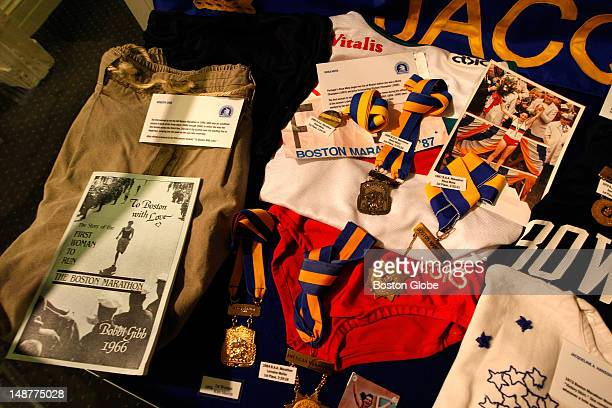 The running shorts at left worn by Roberta Gibb when she became the first woman to complete the race are part of a display at the Boston Athletic...