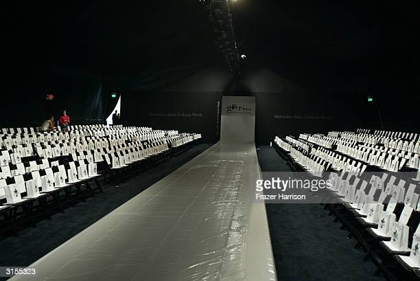The runway at the MercedesBenz Fashion Week 2B Free Show is seen in The Main Tent at Smashbox Studios March 29 2004 in Culver City California