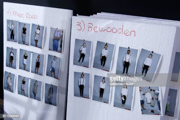 The runway board is seen backstage ahead of the Fashionyard show during Platform Fashion July 2017 at Areal Boehler on July 23 2017 in Duesseldorf...