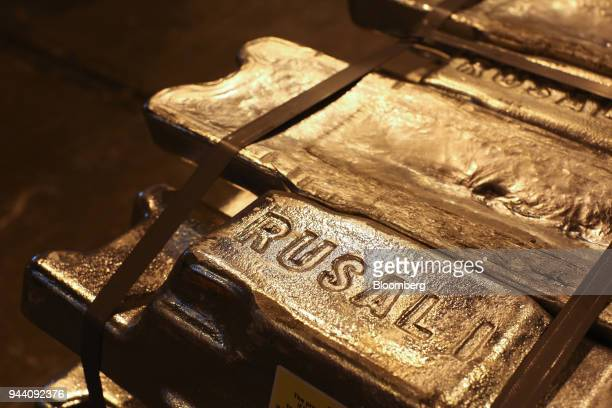 The Rusal logo sits on aluminum ingots ahead of distribution at the Irkutsk aluminium smelting plant operated by United Co Rusal in Shelekhov Russia...