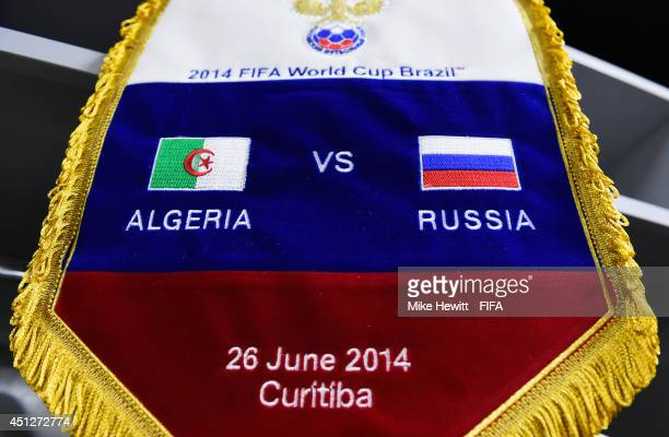 The Russia match pennant is displayed in the dressing room prior to the 2014 FIFA World Cup Brazil Group H match between Algeria and Russia at Arena...