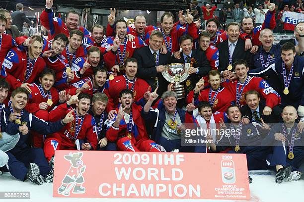 The Russia team celebrates victory in the IIHF World Championship Final between Canada and Russia at the PostFinance Arena on May 10 2009 in Bern...