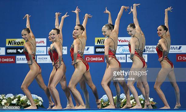 The Russia team compete in the Women's Free Combination Synchronised Swimming Final on day eight of the 16th FINA World Championships at the Kazan...