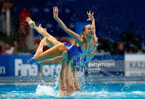 The Russia team compete in the Women's Team Free Synchronised Swimming Final on day seven of the 16th FINA World Championships at the Kazan Arena on...