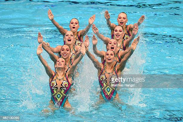 The Russia team competes in the Women's Team Technical Synchronised Swimming Final on day three of the 16th FINA World Championships at the Kazan...