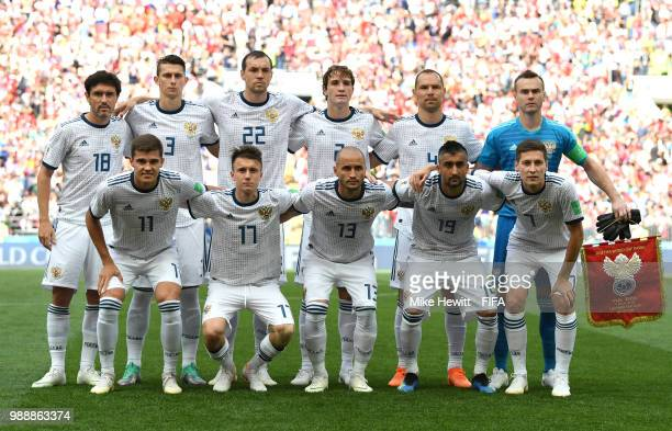The Russia team line up ahead of the 2018 FIFA World Cup Russia Round of 16 match between Spain and Russia at Luzhniki Stadium on July 1 2018 in...