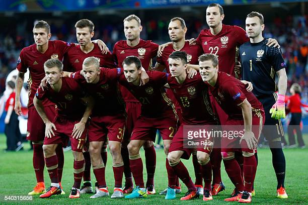 The Russia team line up during the UEFA EURO 2016 Group B match between Russia and Slovakia at Stade PierreMauroy on June 15 2016 in Lille France